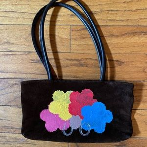 Vtg OOAK handpainted suede purse bag statement